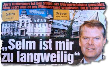 """Jörg Hußmann ist bis 2009 als Bürgermeister gewählt. Aber jetzt will er ins Münsterland wechseln. BILD sagte er: """"Selm ist mir zu langweilig"""""""