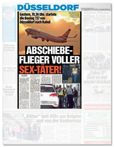 Gestern, 19.36 Uhr, startete die Boeing 737 von Düsseldorf nach Kabul - ABSCHIEBE-FLIEGER VOLLER SEX-TÄTER!