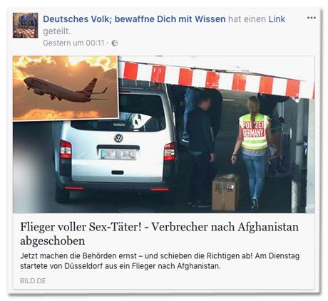 Screenshot Facebook-Seite Deutsches Volk bewaffne dich mit Wissen mit Bild.de-Post
