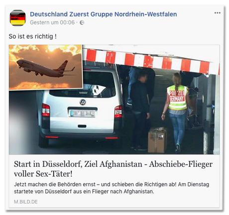 Screenshot Facebook-Seite Deutschland zuerst Gruppe Nordrhein-Westfalen mit Bild.de-Post