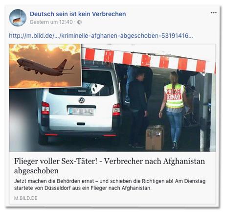 Screenshot Facebook-Seite Deutsch sein ist kein Verbrechen mit Bild.de-Post