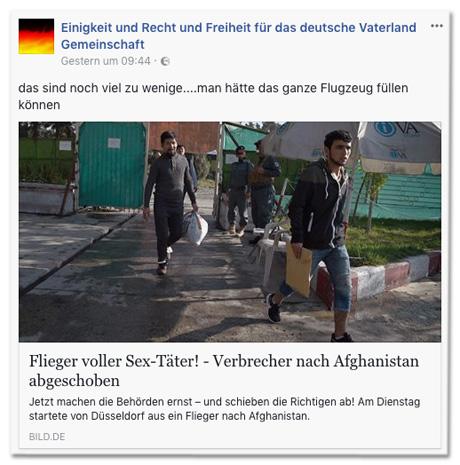 Screenshot Facebook-Seite Einigkeit und Recht und Freiheit für das deutsche Vaterland Gemeinschaft mit Bild.de-Post