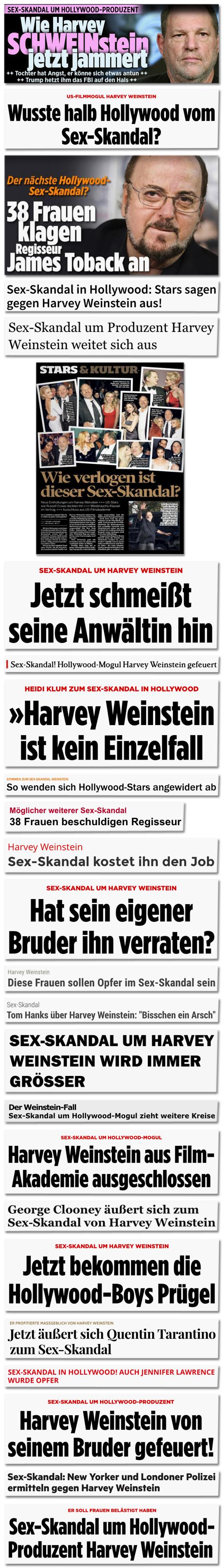 Collage mit Screenshots, die Überschriften zeigen, in denen Redaktionen von einem Sex-Skandal schreiben