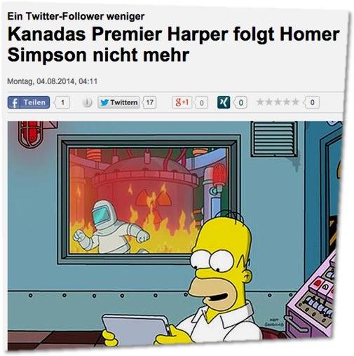 Ein Twitter-Follower weniger - Kanadas Premier Harper folgt Homer Simpson nicht mehr