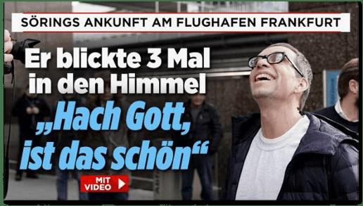 Screenshot Bild.de - Sörings Ankunft am Flughafen Frankfurt - Er blickte dreimal in den Himmel - Hach Gott, ist das schön