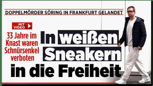Screenshot Bild.de - Doppelmörder Söring in Frankfurt gelandet - 33 Jahre im Knast waren Schnürsenkel verboten - In weißen Sneakern in die Freiheit