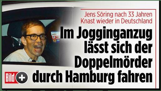 Screenshot Bild.de - Jens Söring nach 33 Jahren Knast wieder in Deutschland - Im Jogginganzug lässt sich der Doppelmörder durch Hamburg fahren