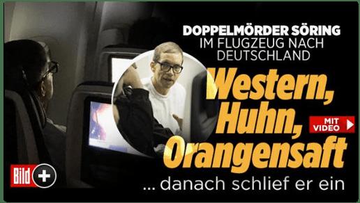 Screenshot Bild.de - Doppelmörder Söring im Flugzeug nach Deutschland - Western, Huhn, Orangensaft - danach schlief er ein