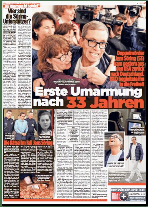 Ausriss Bild-Zeitung - Übersicht über eine komplette Seite mit verschiedenen Artikeln über Jens Söring