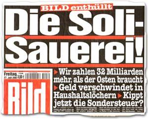 """""""Die Soli-Sauerei! Wir zahlen 32 Milliarden mehr, als der Osten braucht"""""""