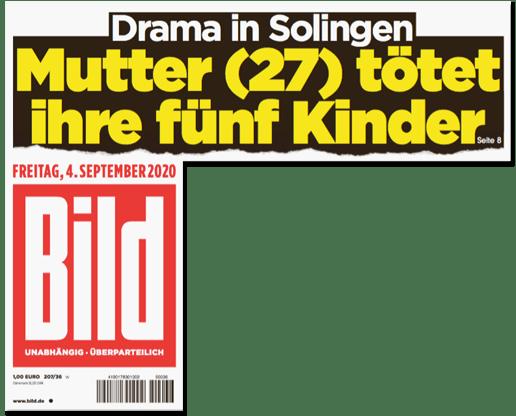Ausriss Bild-Titelseite - Drama in Solingen - Mutter (27) tötet ihre fünf Kinder