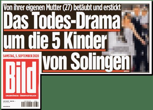 Ausriss Bild-Titelseite - Von ihrer eigenen Mutter (27) betäubt und erstickt - Das Todes-Drama um die fünf Kinder von Solingen