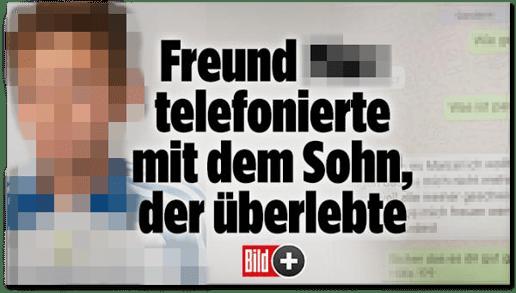 Screenshot Bild.de - Freund Name von uns unkenntlich gemacht telefonierte mit dem Sohn, der überlebte