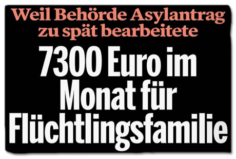 Ausriss Bild am Sonntag - Weil Behörde Asylantrag zu spät bearbeitete - 7300 Euro im Monat für Flüchtlingsfamilie