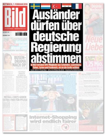 Ausriss Bild-Titelseite - Ausländer dürfen über deutsche Regierung abstimmen