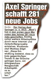 """""""Springer schafft 281 neue Jobs"""""""