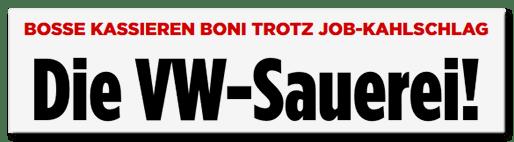 Screenshot BILD.de: Bosse kassieren Boni trotz Job-Kahlschlag - Die VW-Sauerei!