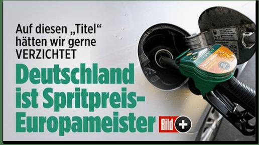 Screenshot Bild.de - Auf diesen Titel hätten wir gerne verzichtet - Deutschland ist Spritpreis-Europameister