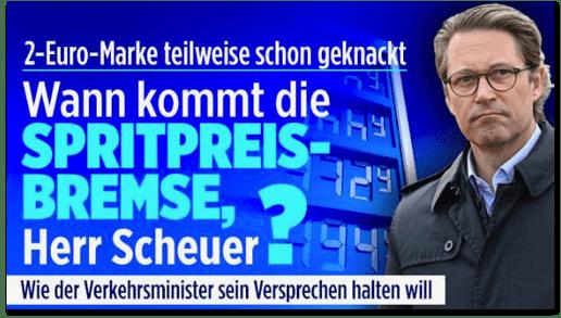Screenshot Bild.de - Zwei-Euro-Marke teilweise schon geknackt - Wann kommt die Spritpreis-Bremse, Herr Scheuer? Wie der Verkehrsminister sein Versprechen halten will