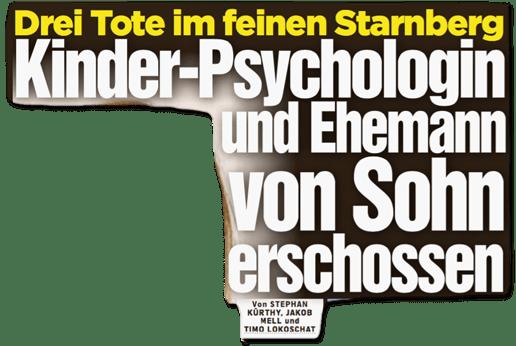 Ausriss Bild-Zeitung - Drei tote im feinen Starnberg - Kinder-Psychologin und Ehemann von Sohn erschossen