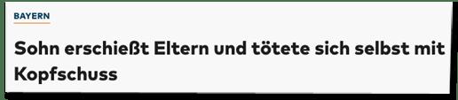 Screenshot Welt.de mit einer Meldung der dpa - Sohn erschießt Eltern und tötete sich selbst mit Kopfschuss