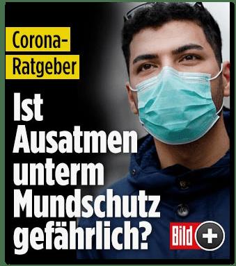 Screenshot Bild.de - Corona-Ratgeber - Ist Ausatmen unterm Mundschutz gefährlich?