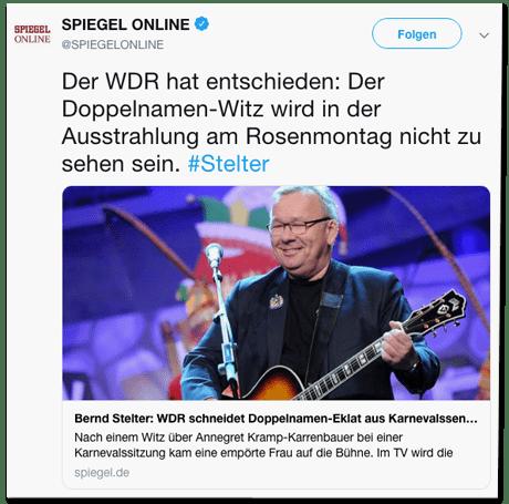 Screenshot eines Tweets von Spiegel Online - Der WDR hat entschieden: Der Doppelnamen-Witz wird in der Ausstrahlung am Rosenmontag nicht zu sehen sein.
