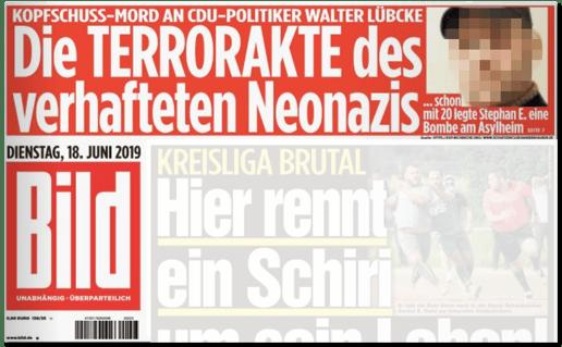 Ausriss Bild-Titelseite - Kopfschuss-Mord an CDU-Politiker Walter Lübcke - Die Terrorakte des verhafteten Neonazis - schon mit 20 legte Stephan E. eine Bombe am Asylheim