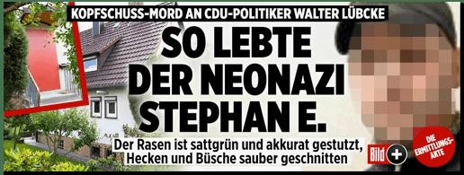 Screenshot Bild.de - Kopschuss-Mord an CDU-Politiker Walter Lübcke - Sol lebte Neonazi Stephan E. Der Rasen ist sattgrün und akkurat gestutzt, Hecken und Büsche sauber geschnitten