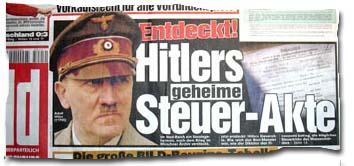 Ausriss aus der BILD-Titelschlagzeile vom 17.12.04: Entdeckt! Hitlers geheime Steuerakte
