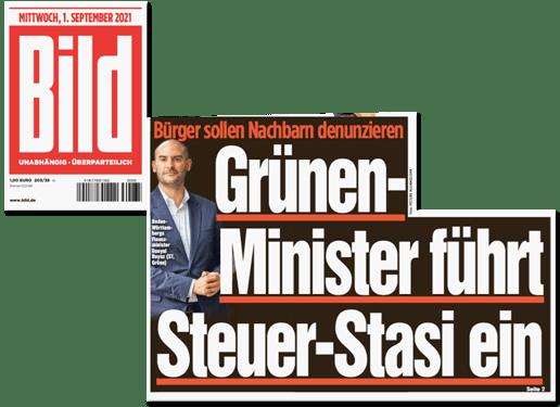 Ausriss Bild-Titelseite - Bürger sollen Nachbarn denunzieren - Grünen-Minister führt Steuer-Stasi ein