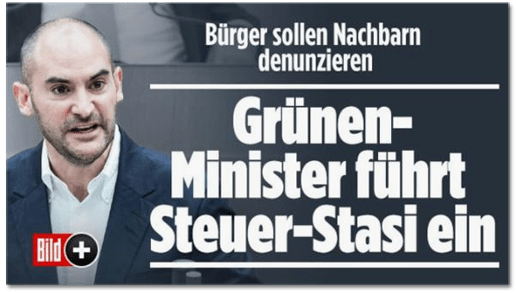 Screenshot Bild.de - Bürger sollen Nachbarn denunzieren - Grünen-Minister führt Steuer-Stasi ein