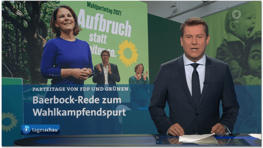Screenshot Tagesschau - Parteitage von FDP und Grünen - Baerbock-Rede zum Wahlkampfendspurt