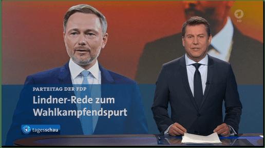 Screenshot Tagesschau - Parteitag der FDP - Lindner-Rede zum Wahlkampfendspurt