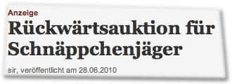 Anzeige: Rückwärtsauktion für Schnäppchenjäger