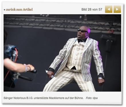 Sänger Notorious B.I.G. unterstützte Macklemore auf der Bühne
