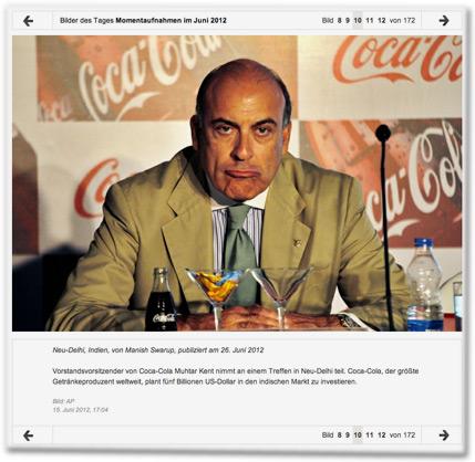 Vorstandsvorsitzender von Coca-Cola Muhtar Kent nimmt an einem Treffen in Neu-Delhi teil. Coca-Cola, der größte Getränkeproduzent weltweit, plant fünf Billionen US-Dollar in den indischen Markt zu investieren.