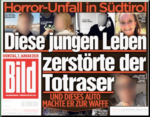 Ausriss Bild-Titelseite - Horror-Unfall in Südtirol - Die jungen Leben zerstörte der Totraser - Und dieses Auto machte er zur Waffe