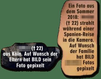 Ausriss Bild-Zeitung - Auf Wunsch der Eltern hat Bild sein Foto verpixelt und Auf Wunsch der Familie hat Bild das Foto verpixelt