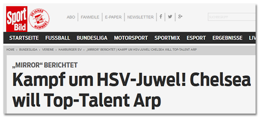 Screenshot Sportbild: Kampf um HSV-Juewel! Chelsea will Top-Talent Arp