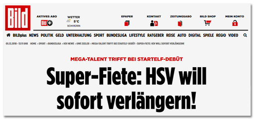 Screenshot Bild.de: Super-Fiete: HSV will sofort verlängern!