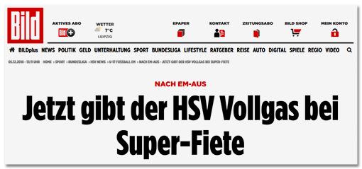 Screenshot Bild.de: Jetzt gibt der HSV Vollgas bei Super-Fiete