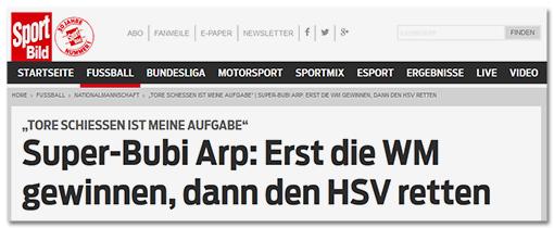 """Screenshot Sportbild: """"Super-Bubi Arp: Erst die WM gewinnen, dann die HSV retten"""""""