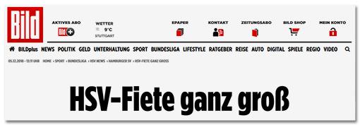 Screenshot Bild.de: HSV-Fiete ganz groß