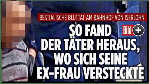 Screenshot Bild.de - Bestialische Bluttat am Bahnhof von Iserlohn - So fand der Täter heraus, wo sich seine Ex-Frau versteckte
