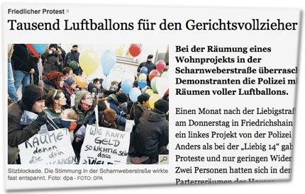 Friedlicher Protest: Tausend Luftballons für den Gerichtsvollzieher. Sitzblockade. Die Stimmung in der Scharnweberstraße wirkte fast entspannt. Foto: dpa - Foto: dpa