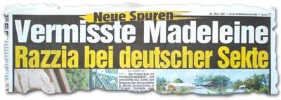 """""""Vermisste Madeleine: Razzia bei deutscher Sekte"""""""