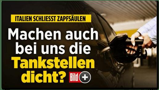 Screenshot Bild.de - Italien schließt Zapfsäulen - Machen auch bei uns die Tankstellen dicht?