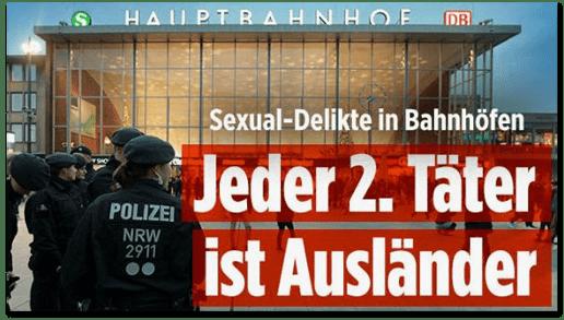 Screenshot Bild.de - Sexual-Delikte in Bahnhöfen - Jeder 2. Täter ist Ausländer