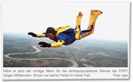 Wäre er jetzt der richtige Mann für die rechtspopulistische Wende der FDP? Jürgen Möllemann. Schon vor seiner Partei im freien Fall.